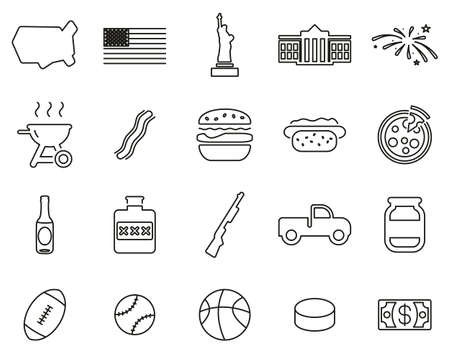 USA Country & Culture Icons Black & White Thin Line Set Big