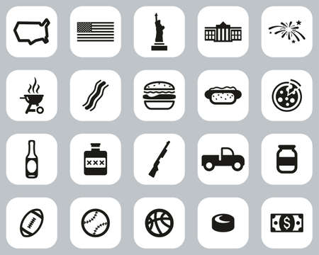 USA Country & Culture Icons Black & White Flat Design Set Big Illustration