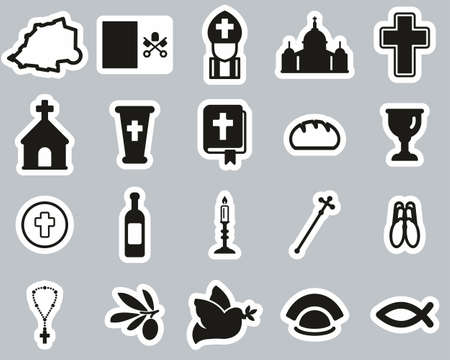 Vatican Country & Culture Icons Black & White Sticker Set Big