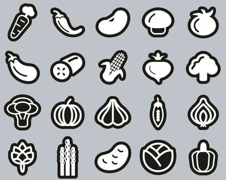 Vegetable Icons White On Black Sticker Set Big