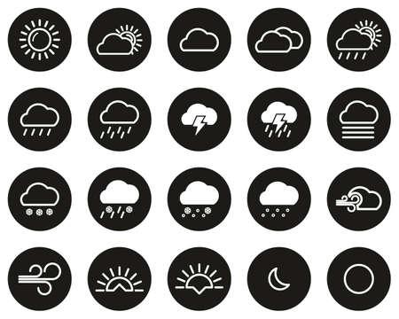 Weather Icons White On Black Flat Design Circle Set Big Vectores