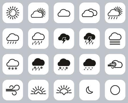 Weather Icons Black & White Flat Design Set Big Vectores