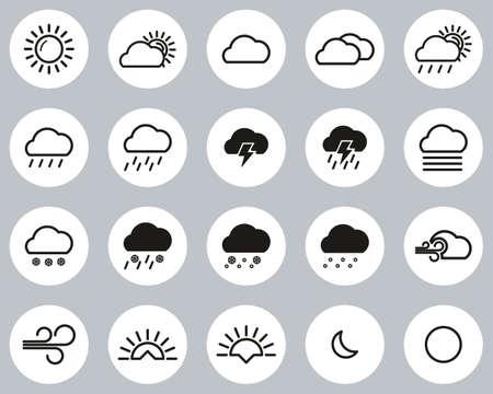 Weather Icons Black & White Flat Design Circle Set Big