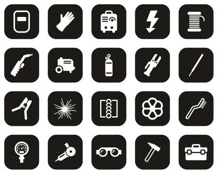 Welding & Welding Equipment Icons White On Black Flat Design Set Big Vectores