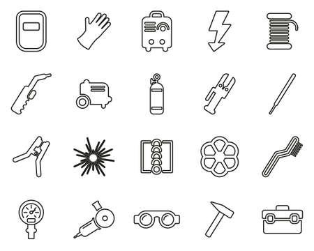 Welding & Welding Equipment Icons Black & White Thin Line Set Big
