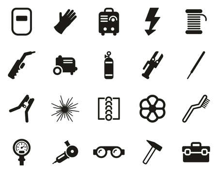 Welding & Welding Equipment Icons Black & White Set Big Vectores