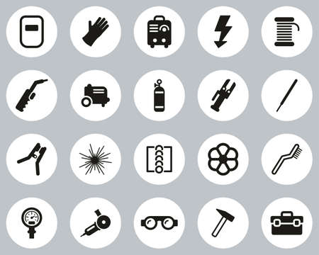 Welding & Welding Equipment Icons Black & White Flat Design Circle Set Big Vectores