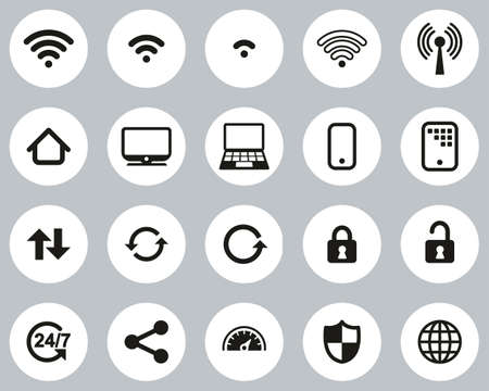 Wifi Connection Icons Black & White Flat Design Circle Set Big