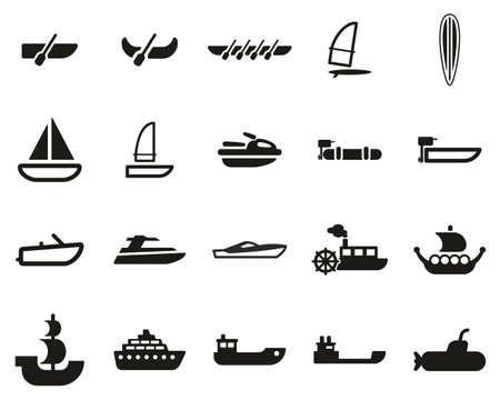 Boat Or Ship Icons Black & White Set Big Vettoriali