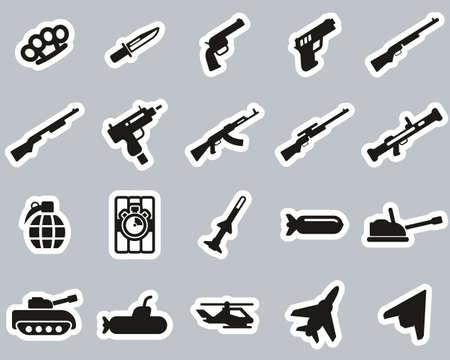 Weapons Icons Black & White Sticker Set Big