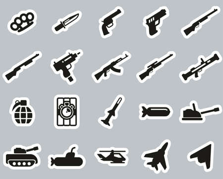 Weapons Icons Black & White Sticker Set Big