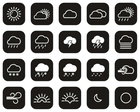 Weather Icons White On Black Flat Design Set Big