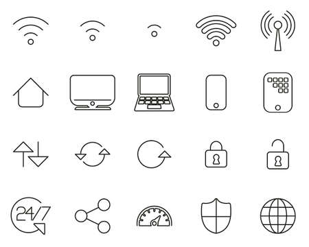 Wifi Connection Icons Black & White Thin Line Set Big 일러스트