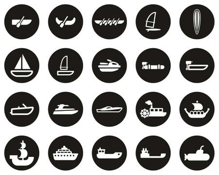 Boat Or Ship Icons White On Black Flat Design Circle Set Big