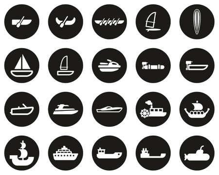 Boat Or Ship Icons White On Black Flat Design Circle Set Big