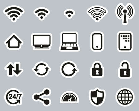 Wifi Connection Icons Black & White Sticker Set Big
