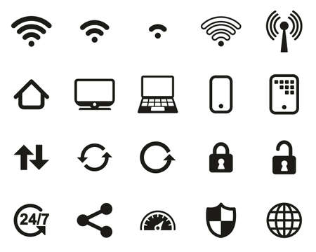 Wifi Connection Icons Black & White Set Big 일러스트