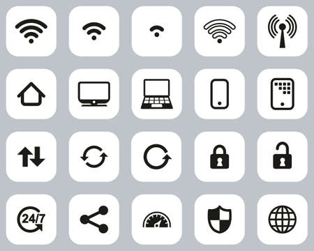 Wifi Connection Icons Black & White Flat Design Set Big 일러스트