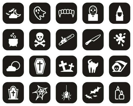 Horror Or Scary Icons White On Black Flat Design Set Big