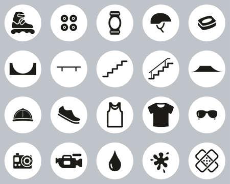 Inline Extreme Sport & Equipment Icons Black & White Flat Design Circle Set Big