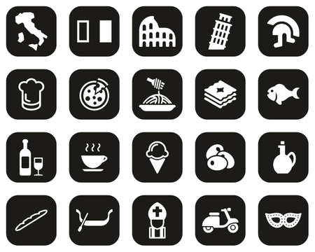 Italy Country & Culture Icons White On Black Flat Design Set Big