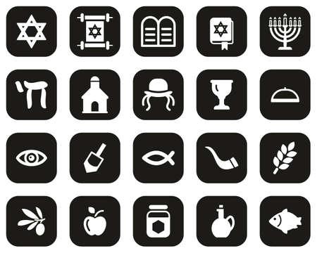 Judaism Religion & Religious Items Icons White On Black Flat Design Set Big Vector Illustration