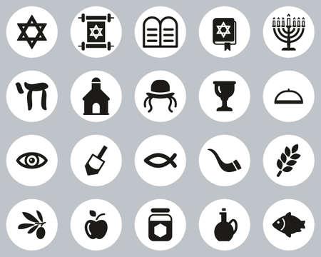 Judaism Religion & Religious Items Icons Black & White Flat Design Circle Set Big Vektorové ilustrace