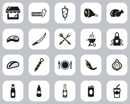 Kebab Or Kebab Shop Icons Black & White Flat Design Set Big