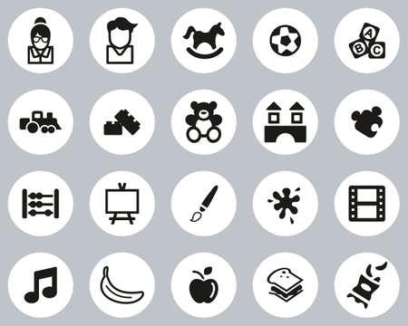 Kindergarten Or Day Care Icons Black & White Flat Design Circle Set Big Vecteurs