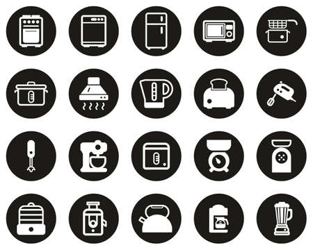 Kitchen Appliances Icons White On Black Flat Design Circle Set Big