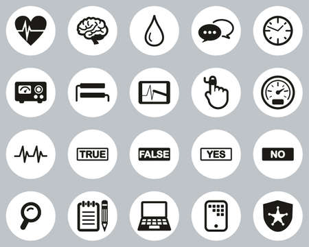 Lie Detector Test Or Polygraph Test Icons Black & White Flat Design Circle Set Big Illusztráció