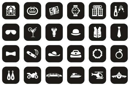 Luxury Or Luxury Life Icons White On Black Flat Design Set Big