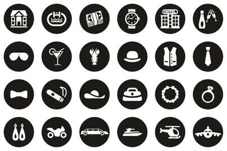 Luxury Or Luxury Life Icons White On Black Flat Design Circle Set Big