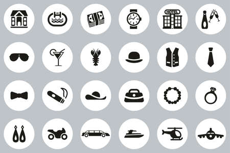 Luxury Or Luxury Life Icons Black & White Flat Design Circle Set Big Illusztráció