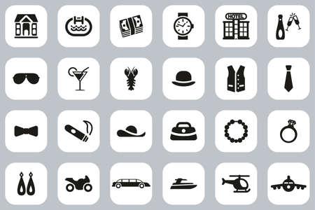 Luxury Or Luxury Life Icons Black & White Flat Design Set Big