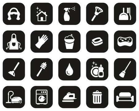 Maid Or Housekeeper Icons White On Black Flat Design Set Big