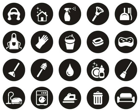 Maid Or Housekeeper Icons White On Black Flat Design Circle Set Big 向量圖像