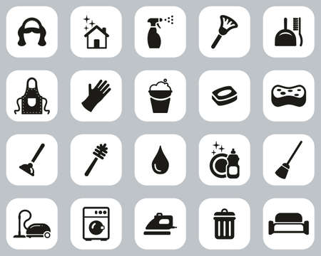 Maid Or Housekeeper Icons Black & White Flat Design Set Big
