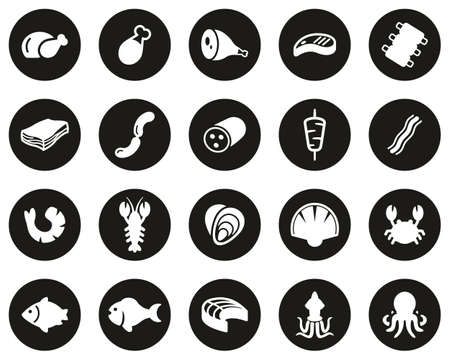 Meat & Seafood Icons White On Black Flat Design Circle Set Big Vectores