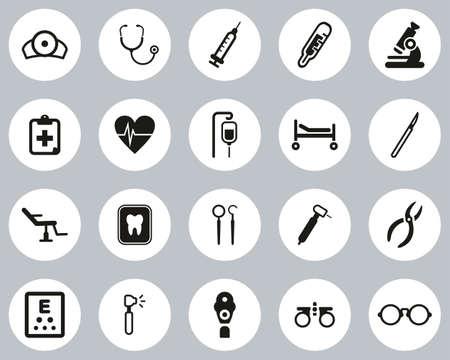 Medical Equipment Icons Black & White Flat Design Circle Set Big