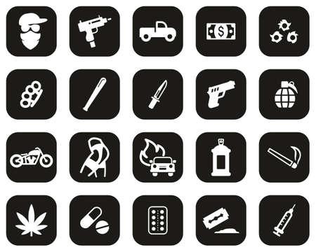 Modern Gangster Icons White On Black Flat Design Set Big Ilustracje wektorowe