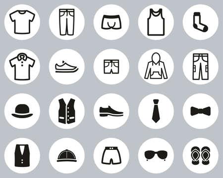 Men s Clothing & Accessories Icons Black & White Flat Design Circle Set Big