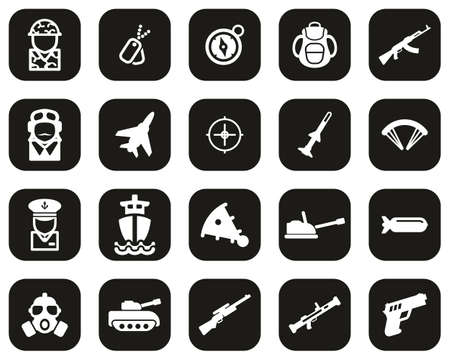 Military Or Army Icons White On Black Flat Design Set Big