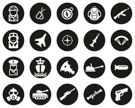 Military Or Army Icons White On Black Flat Design Circle Set Big