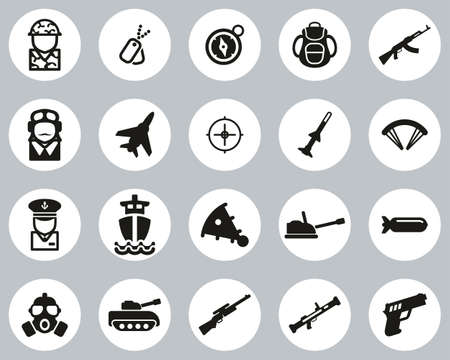 Military Or Army Icons Black & White Flat Design Circle Set Big Illustration