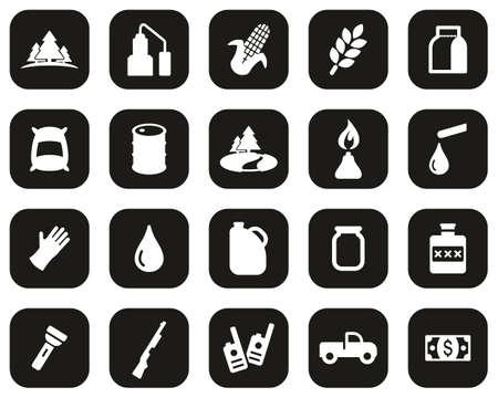 Moonshine Culture & Equipment Icons White On Black Flat Design Set Big