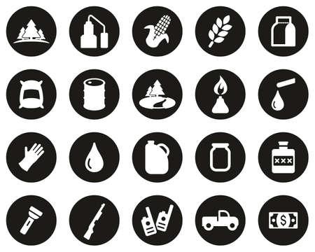 Moonshine Culture & Equipment Icons White On Black Flat Design Circle Set Big