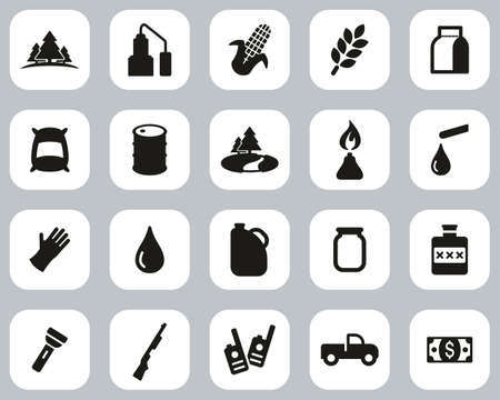 Moonshine Culture & Equipment Icons Black & White Flat Design Set Big 向量圖像
