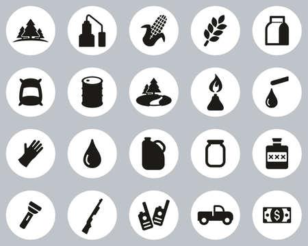 Moonshine Culture & Equipment Icons Black & White Flat Design Circle Set Big 向量圖像