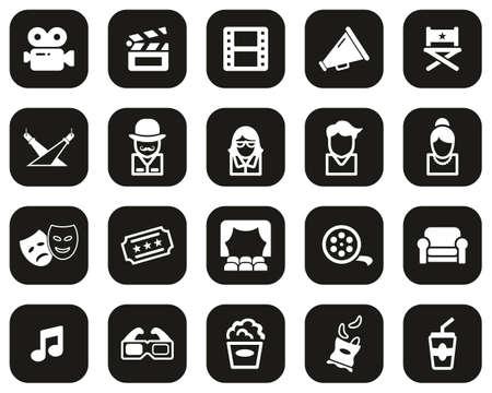 Movie Or Movie Industry Icons White On Black Flat Design Set Big